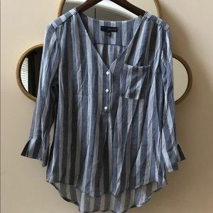 White and Gray Striped Shirt